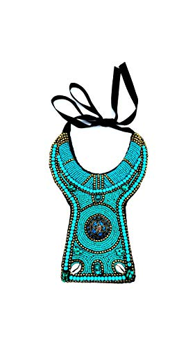 MOVIDA Fashion - Collar tipo babero de perlas con piedra tibetana central, estilo vintage, en 3 colores disponibles azul turquesa Talla única
