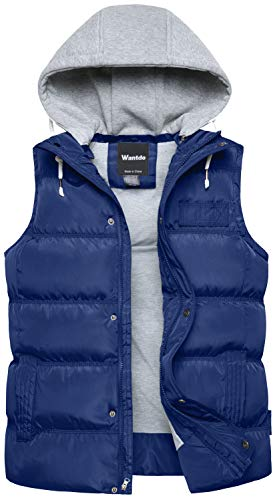 Wantdo Men's Winter Puffer Vest Quilted Down Puffer Outdoor Outwear Blue Large