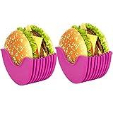 NANUNU - Juego de 2 soportes para hamburguesas reutilizables para moño de hamburguesas estirable respetuoso con el medio ambiente, no contiene BPA y accesorios para barbacoa