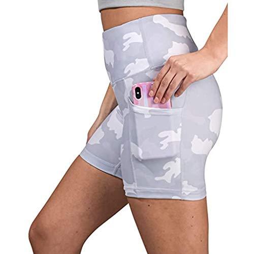cinnamou 2020 Damen Kurz Fitness Leggings Sport Yoga Pants Jogginghose Kurze Sporthose High Wasit mit Tasche Tie-Dye Farbig