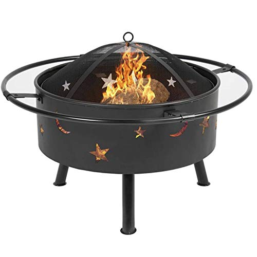 JISHIYU Outdoor Round Fire Pit, 32' Bonfire Wood Burning for Backyard Fire Patio Heater with Cooking BBQ Grill Grate