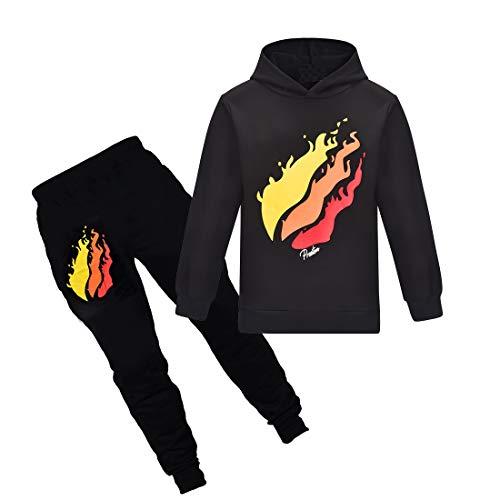 Thombase Prestonplayz Youtuber Jungen Mädchen Hoodie + Pant Set Pullover Sweatshirts mit Kapuze Trainingsanzug Sport Anzüge (Schwarz, 150)