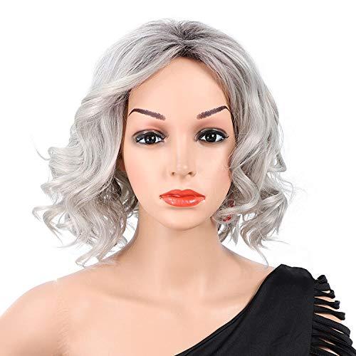 Hairpiece Gradient de mode européen et américain perruque de cheveux perruque pelucheux court paragraphe (Color : Silver Grey)