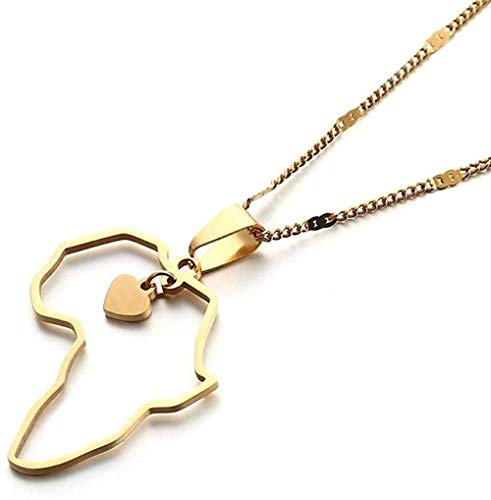 LKLFC Collar Mujer Collar Hombre Collar Acero Inoxidable Color Dorado Mapa de África T Collares Cadena Africana Joyería Corazón Mapa Colgante Collar Niñas Niños Regalo