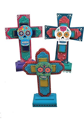 Transpac Skull Day of The Dead Standing Layered Cross Figurines Set of 3 Halloween