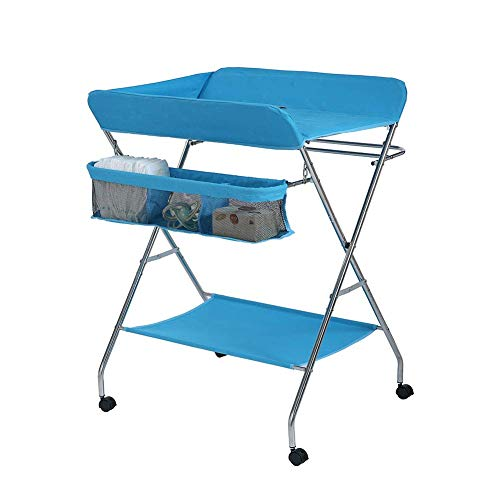 Mesa para pañales para bebé con cajón, Mesa para pañales para baño para bebé, Plegable y portátil, Camilla para masajes para bebés, Camilla para pañales para bebé Gris, Rosa con Ruedas universales