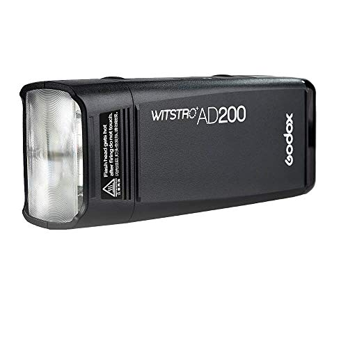 Godox AD200 Pocket Flash 2.4G TTL Speedlite Flash Strobe HSS Monolight with 2900mAh Lithium Battery 200WS and Bare Bulb Flash Head to Cover 500 Flashes