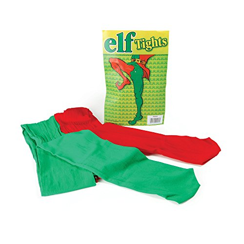 Bristol Novelty BA043 Collants de Lutin de Noël, Vert/Rouge, Taille Unique