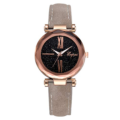 GJHBFUK Mira La Moda Simple Slim PU Strap Women Lady Watch Cuarzo Reloj De Pulsera (Gris)