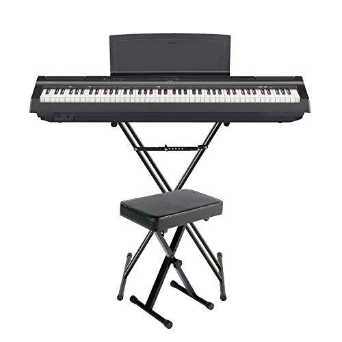 Yamaha P11588Gewichteter Schlüssel Digital Piano Paket mit Knox Double X Ständer, Knox großes Bench und Sustain Pedal