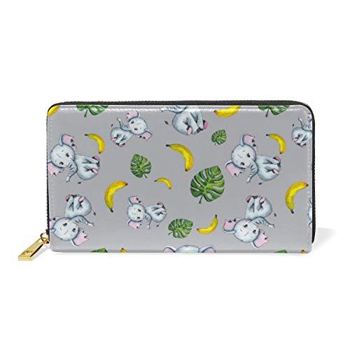 Rootti - Cartera larga para mujer, diseño de elefante, hojas de bebé, piel auténtica, con cremallera dorada, monedero, teléfono, bolsa de embrague, bolsa para tarjetas para niñas y mujeres