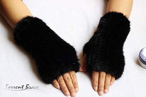 Winter Warm Solid Elastic Knitted Mink Fur Gloves Fashion Coffee Crag Half-Finger Glove Unisex Computer Mink Gloves Fur Mittens - (Color: Black, Gloves Size: 30cm Length)