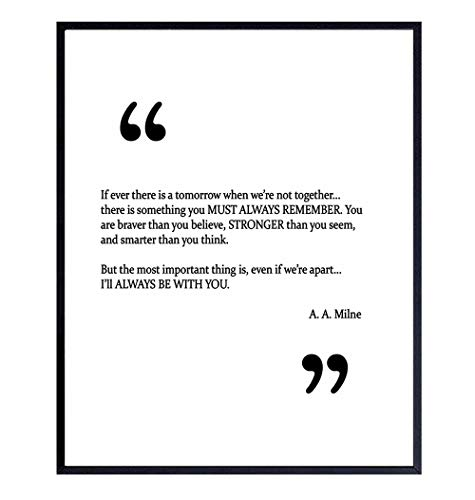 A.A. Milne Quote Wall Art Print - 8x10 Unframed Photo - Perfect Inspirational and Motivational Gift, Chic Home Decor