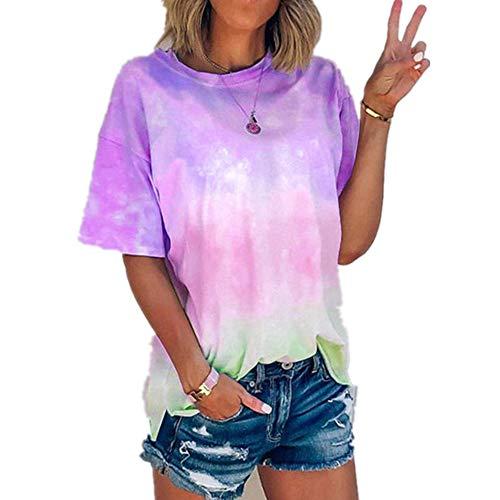 DREAMING-Verano Casual Camisa De Manga Corta con Estampado Degradado Tie-Dye Camiseta Suelta Tops De Mujer púrpura 2XL