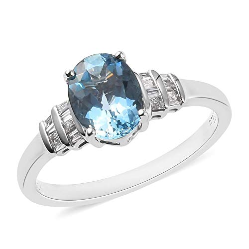 Rhapsody Platinum AAAA Aquamarine Solitaire Ring for Women Christmas Gift/Engagement Jewellery Size N with White Diamond VS/E-F, TCW 1.25ct