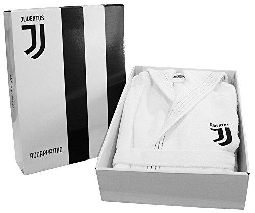 Offizielles Lizenzprodukt F.C. Juventus Herren-Bademantel mit Kapuze, mit Logo, Größen S M L XL XXL, Weiß und Schwarz, 100% Frotte aus reiner Baumwolle, mit Box XL - 52 / 54