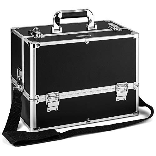 AMASAVA Beauty Case da Viaggio, Cofanetto Trucco,valigia Trucco, Caso Cosmetici,36.5 x 22 x 27 cm, PVC, Serratura, 6 vassoi, con tracolla, Nero