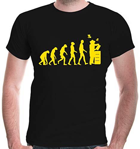buXsbaum Herren Unisex Kurzarm T-Shirt Bedruckt The Evolution of Beewhisperer   Bienenzüchter Imker Bienenflüsterer   L Black-Sunflower Schwarz
