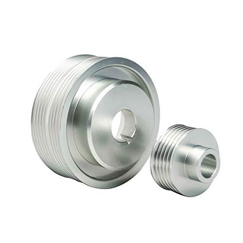GLYHE Motor Riemenscheiben für Kurbelwellen & Zubehör, Aluminium Nockenwellen Werkzeuge Kompatibel mit Impreza WRX V. 7 8 9 GDB/GDA,Silber