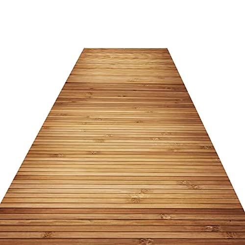 Alfombra de estilo rural para exteriores, interiores, porche, vestíbulo, alfombra lavable con patrón de listones de bambú (tamaño: 100 cm de ancho x 500 cm)