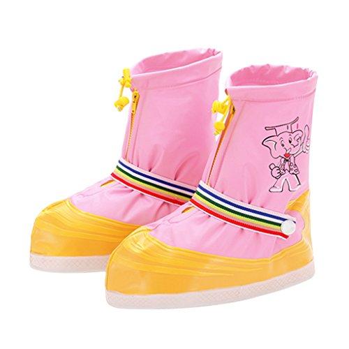 Shoe Covers, Kids Boys Girls Anti-slip Thicken Sole Waterproof Zipper Rain Snow Shoes Boots Covers Reusable for Outdoor Walking Camping Fishing Garden Cycling Travel Overshoes Biking Protective Gear