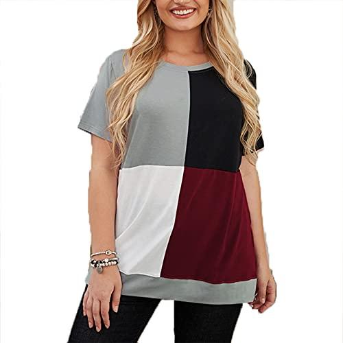 Jersey Informal De Primavera Y Verano para Mujer, Cuello Redondo, Bloque De Color, Costura, Camiseta Suelta De Manga Corta De Gran TamañO, Top para Mujer