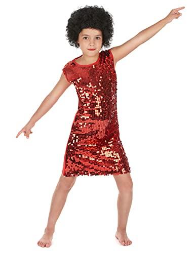 DEGUISE TOI Déguisement Disco Fille Rouge à Paillettes - L 10-12 Ans (130-140 cm)