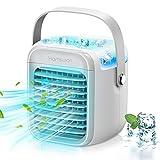 LISHIVE Aire Acondicionado Portátil, 4 en 1 Enfriador Aire Acondicionado Silencioso, Ventilador Aire Acondicionado Móviles con Batería, 3 Velocidad, LED de 7 Color, Humidicador y Purificador de Aire