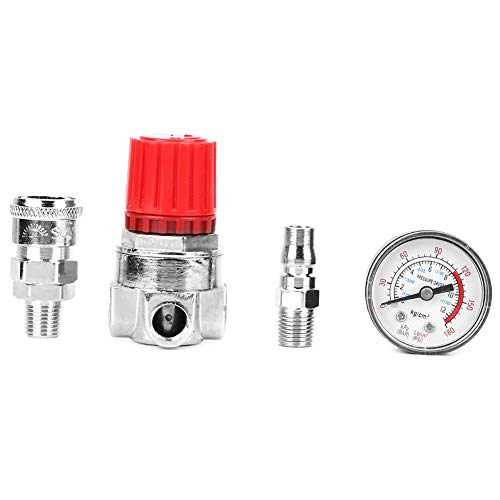 Air Compressor Switch Pressure Regulator Valve Gauge, Pneumatic Air Pressure Regulator,Air Pump air pipe Parts,with Pressure Gauge and Connector