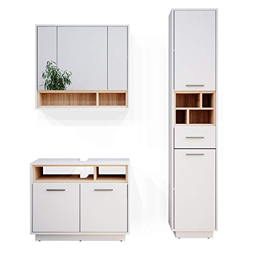 Vicco Badmöbel Set Beatrice Spiegelschrank Waschtischunterschrank Badschrank (Weiß-Sonoma, 3er-Set)
