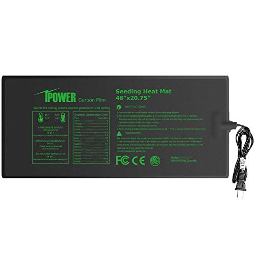 iPower Upgraded Carbon Film 48quot x 2075quot Seedling Heat Mat Durable Waterproof Indoor Warm Hydroponic Plant Germination Starting Pad Black