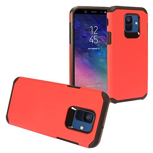 Eaglecell – Kompatibel mit Samsung Galaxy A6 (2018) SM-A600 – Gummierte Hybrid-Hartschale – AH2 Rot
