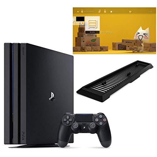 {PlayStation 4 Pro ジェット・ブラック 1TB (CUH-7200BB01)【Amazon.co.jp限定】アンサー 縦置きスタンド付 & オリジナルカスタムテーマ (配信)}