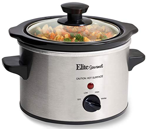 Elite Gourmet MST-250XS Electric Slow Cooker, Glass Lid & Ceramic Pot, 1.5Qt Capacity, Stainless Steel image