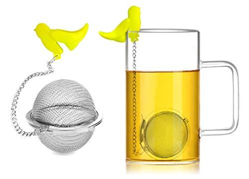 Pacote com 2 infusores de bolas de chá de cozinha de malha extrafina filtros de filtro de chá difusor de intervalo de aço inoxidável com corrente estendida para preparar chá de folha solta, especiarias e temperos gancho de silicone reutilizável