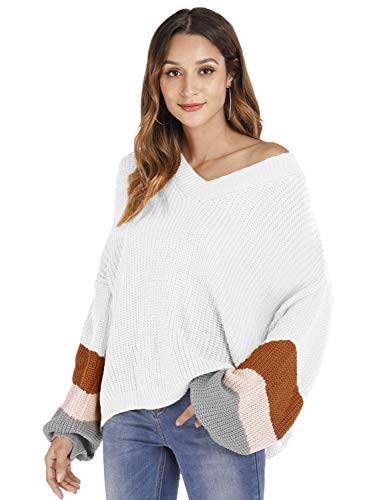 Marbetia Womens Contrast-Sleeve Striped Long Sleeve Loose Knitted Pullover Oversized Sweaters Jumper Tops (White-1, Medium)