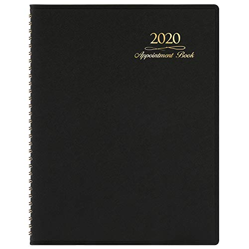 """2020 Appointment Book/Planner - Weekly Appointment Book/Planner 2020, Daily/Hourly Planner with Tabs, 15 Minutes, 8.26""""x 10.7"""", Wirebound - Black"""