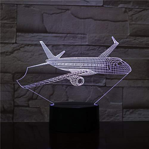 Lámpara de mesita de noche inteligente lámpara de mesa 3D modelo de avión USB3D lámpara de mesa LED luz de noche regalo cambio de color led decoración fresca
