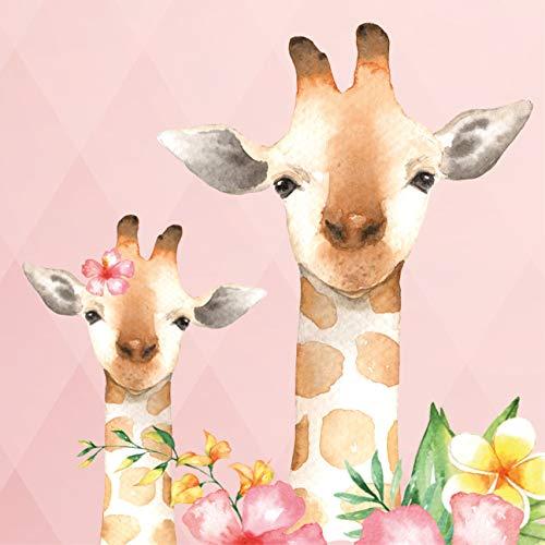 anna wand Bordüre selbstklebend JOLLY JUNGLE - Wandbordüre Kinderzimmer/Babyzimmer mehrfarbigen Dschungeltieren auf Rosa – Wandtattoo Schlafzimmer Mädchen & Junge, Wanddeko Baby/Kinder
