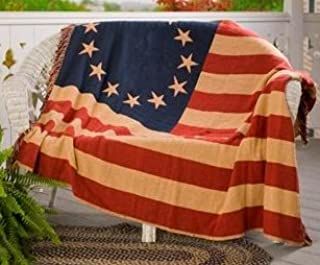 VHC Brands Seasonal Americana Pillows & Throws-Old Glory Red Woven Throw, 50