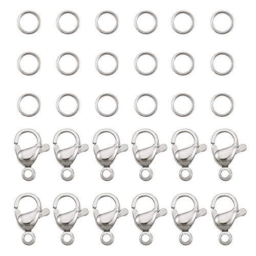 PandaHall 120 anillos de acero inoxidable 304 de 7 mm con 60 cierres de pinza de langosta...