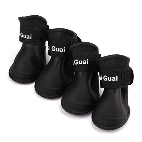 Scarpe di Moda Carino Cane Pet Supplies Pattini dell'animale Domestico Stivali da Pioggia Color Nero Size Medium