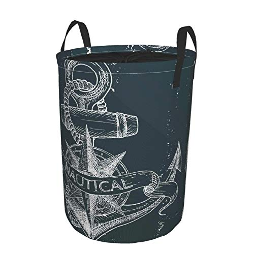 Janrely Personalized Large Washing Clothes Hamper for HouseholdMarine Nautical Knot Compass Anchor Sea World Ocean Life GrungeRound Folding Laundry Basket Family Toys Storage Sack14 x 19in