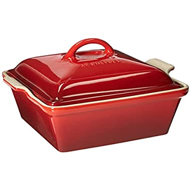 Le Creuset Heritage Stoneware 2-1/2-Quart Covered Square Casserole, Cerise (Cherry Red)