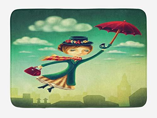 Fantasy Badematte, Cartoon Märchen Nanny mit Regenschirm und Tasche über London Skyline fliegen, Plüsch Badezimmer Dekor Matte mit Rutschfester Rückseite