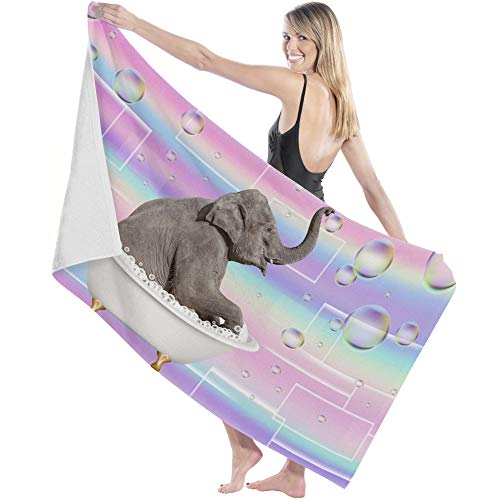 Big buy store Soft Lightweight Bath Sheets Towel Cute Funny Elephant Pink Absorbent Quick Dry Microfiber Shower Towel for Bathroom Travel Swim Spa for Kids Adults 27x55 inch Play Bubble