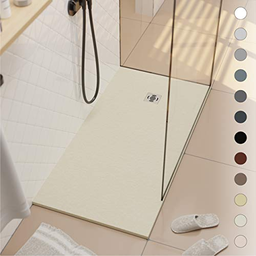 Shower Tray 900 x 1400 Stone Resin Ebro - Anti Slip and Low Profile - Matte Finish and Slate Effect - All Sizes Available - Shower Waste and Grid Included - Cream RAL 1015