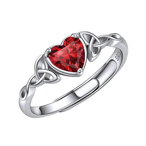 Anillo Triqueta Mujer Plata de Ley 925 Nudos Célticos Irlandeses Piedras Zirconia Cúbica Enero Diamantes de Nacer Material Hipoalergénica Joyería Moderna Elegante Granate Rojo