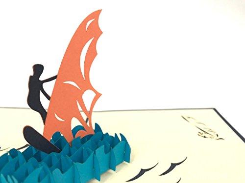 PopUp-Cards 2035 Geburtstagskarte, Motiv: Surfer auf der Welle, 3D, lasergeschnitten, Pop-Up-Pop-Up-Vintage-Stil, handgefertigt, Grußkarten, Postkarten, mit Umschlag