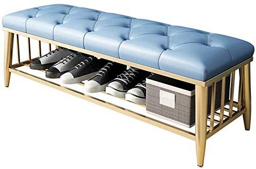 TEHWDE Banco tapizado de Dormitorio con Espacio de Almacenamiento Botón Decorativo de imitación de Cuero Banco capitoné Decorativo con Base de Metal para Ropa de Cama 120X35X45CM
